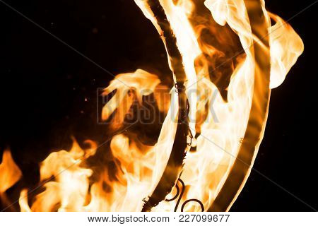 Beautiful Flames, On A Decorative Grille, In The Dark, For Any Purpose
