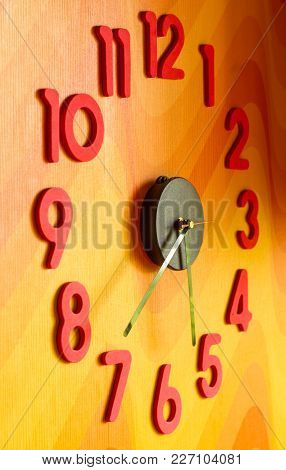 Large Wall Clock With Colorful Numbers, Close Up