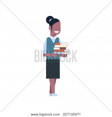 School Girl African American Hold Stack Of Books Isolated Cute Caucasian Schoolgirl Wearing Uniform