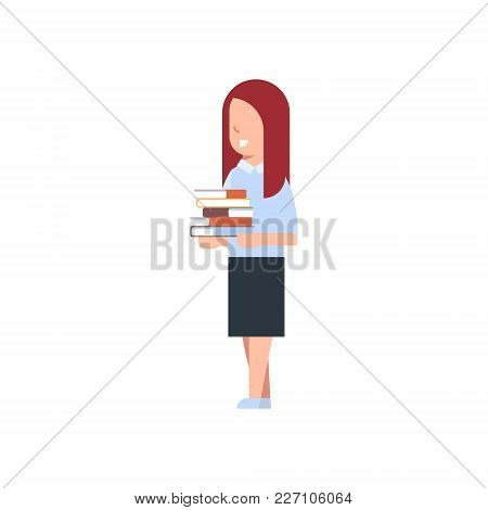 School Girl Holding Stack Of Books Isolated Cute Caucasian Schoolgirl Wearing Uniform Flat Vector Il