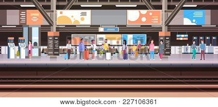 Train Station With People Waiting On Platform Holding Baggage Transport And Transportation Concept H
