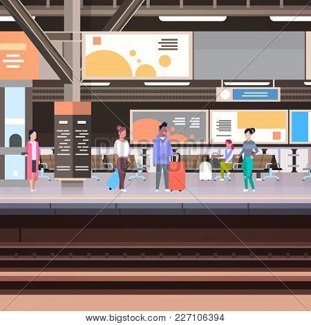 Railway Station Platform With Passengers Waiting For Train Departure Transportation Concept Vector I