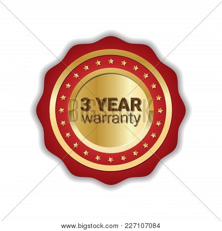 Warranty Sticker Golden Label Guarantee Icon Badge Isolated Vector Illustration