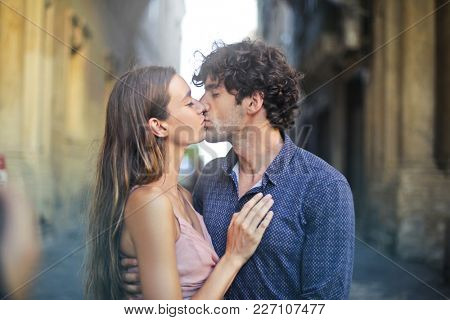 Couple of lovers kissing