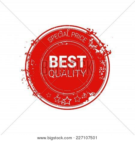 Best Quality Seal Red Grunge Label Isolated Retro Sticker Icon Vector Illustration