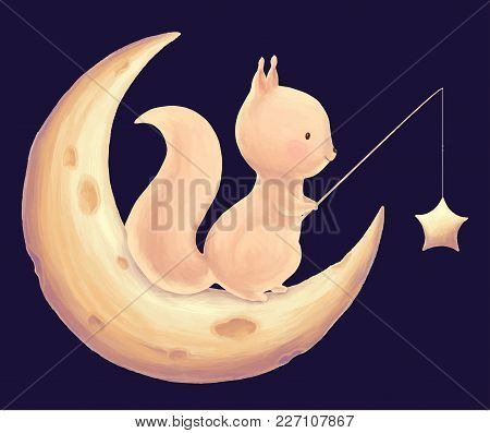 Squirrel Catch The Stars For A Fishing Rod Cute Children Print. Rodent And Night Sky Card. Illustrat