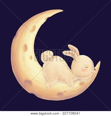 Rabbit Sleep On Moon Cute Children Print. Bunny Night Sky Card. Illustration For Kids Birthday Party
