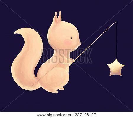 Squirrel Catch The Stars For A Fishing Rod Cute Children Print. Night Card. Illustration For Kids Bi