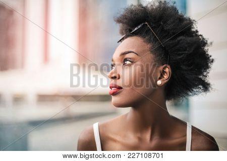 Beautiful woman wearing red lipstick