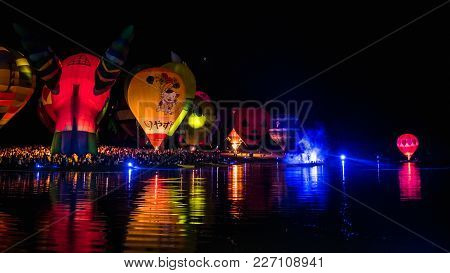 Chiangrai, Thailand - February 18 : International Balloon Fiesta 2018 , February 18 2018 In Singha P