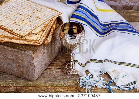 Still-life With Wine And Matzoh Jewish Passover Bread Passover Jewish Matzah Wine