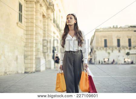 Classy woman doing shopping