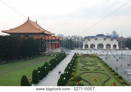 Democracy Boulevard With National Theatre By Chiang Kai-shek Memorial Hall, Taipei, Taiwan
