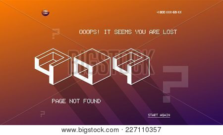 404 Page Template For Website. Flat Design Vector 404 Page Design Template. Flat Design Page Not Fou