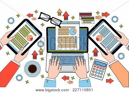 Workplace Desk Top View, Financial Business Data On Diagrams And Documents, Businesspeople Hands Usi