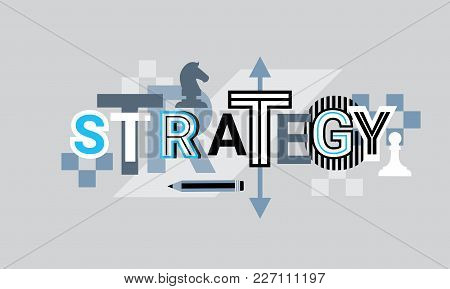 Strategy Creative Word Over Abstract Geometric Shapes Background Web Banner Vector Illustration
