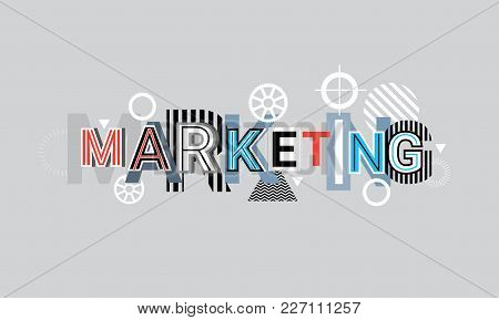 Marketing Creative Word Over Abstract Geometric Shapes Background Web Banner Vector Illustration