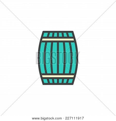 Wooden Barrel Cellar Filled Outline Icon, Line Vector Sign, Linear Colorful Pictogram Isolated On Wh
