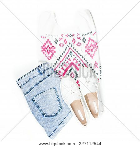 Woman Summer Clothes And Fashion Accessories Flat Lay. Top View