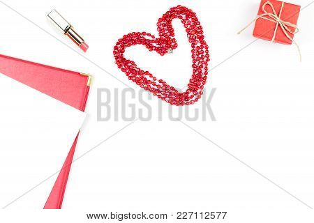 Lipstick, Heart Shape And Giftbox On White Background. Women's Day Concept Flat Lay.