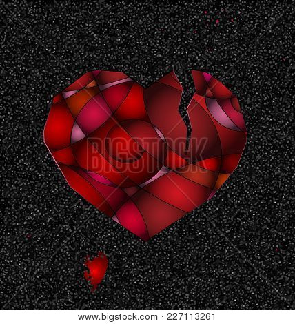 Dark Gray Background And The Abstract Large Broken Red Heart
