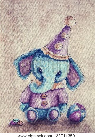 Watercolor illustration of a elephant with toys