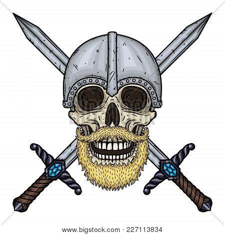 Skull With Beard, Crossed Swords And Helmet. Cartoon Skull. Vector Hand Draw Illustration