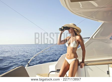 Lady on the yacht