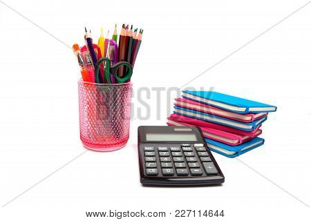 Various Colour Pencils In  Cup Isolated On The White Background