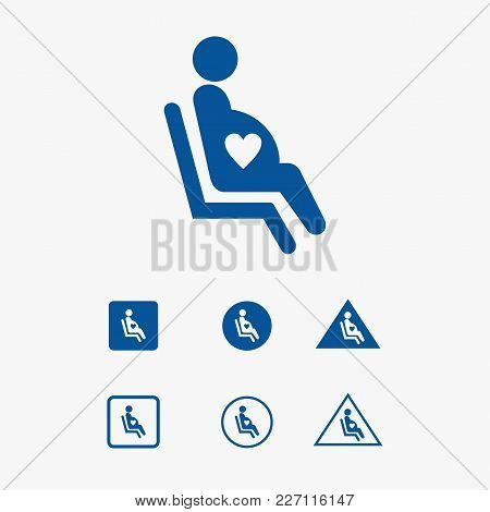 Priority Seat Icon Illustration For Pregnant Woman.