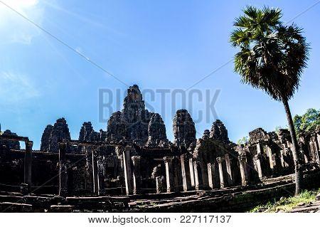 Bayon Temple And Stone Faces In Angkor Thom,  Angkor Wat, Siem Reap, Cambodia