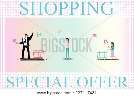 Illustration Vector In Concept People Shopping Online And Business Choice Payment.