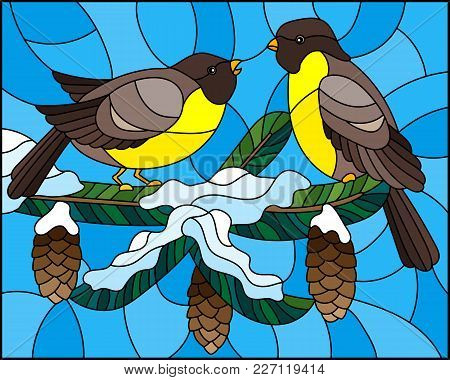 Illustration In Stained Glass Style With A Pair Of Birds Titmouses On Snow-covered Spruce Branches W