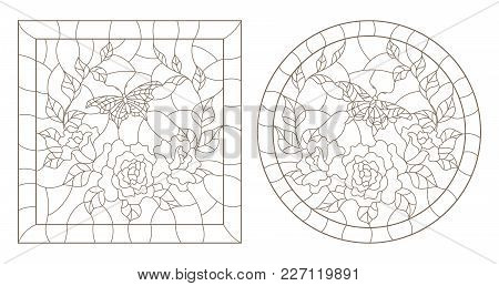 A Set Of Contour Illustrations Stained Glass Windows With Roses And Butterfly In The Frame, Round An