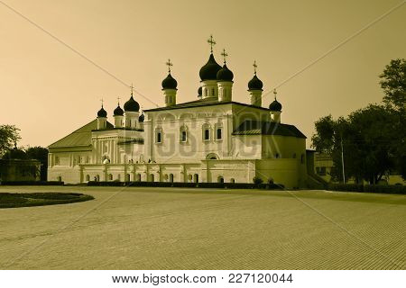 Kremlin In Astrakhan, Russia. The Cathedral Of The Monastery Of The Trinity. Popular Touristic Landm