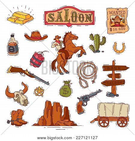 Wild West Vector Western Cowboy Or Sheriff In Wildlife Desert With Cactus Illustration Wildly Charac