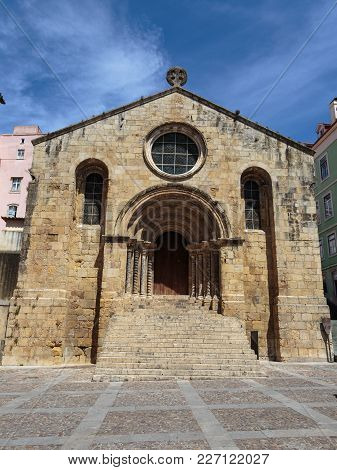St. Tiago Romanesque Style Church In Coimbra, Portugal