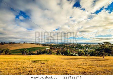 Farmlands At Sunset In Yankalilla, South Australia