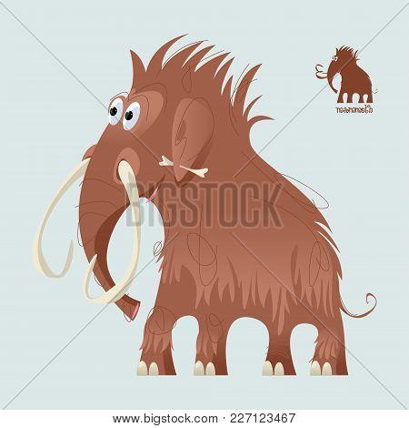 Cute Prehistoric Mammoth. Ice Age. Vector Illustration