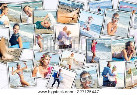 Collage Of Colorful Photos Of Woman And Man At The Beach