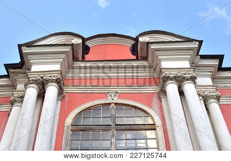 Fragnent Of Building In Alexander Nevsky Lavra, Ancient Monastery In Baroque Style In Center Of St.p