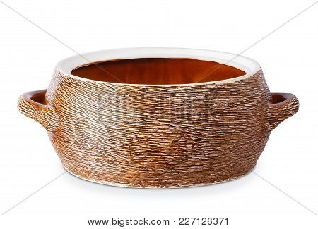 Open Clay Saucepan Isolated On White Background. Clipping Path. Ceramic Kitchenware. Earthenware Pot