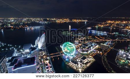 Night Light Yokohama Cityscape Hight View With Modern Building In Japan