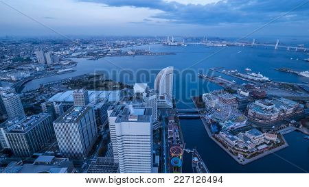 Hight View Of Yokohama Cityscape With Modern Building In Japan