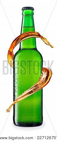 Cold Beer In Green Glass Bottle With Drops, Isolated On White Background. Beer With Condensation. Sp