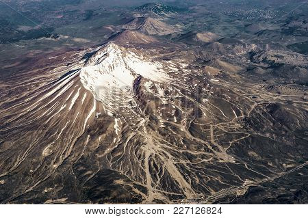 The View From The Plane On Mount Erciyes, Turkey Central Anatolia Region, Kayseri.