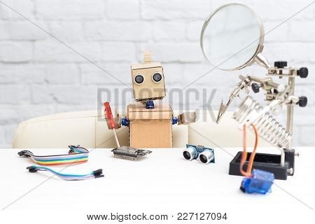 The Robot Holds A Screwdriver And Collects The Microcircuit. Nearby Other Tools