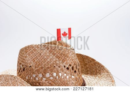 Fashionable Cowboy Hat For A Man With Small Flag Of Canada
