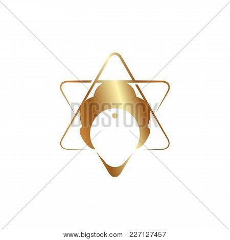 Trans Meditation Head Golden Icon On A White Background.