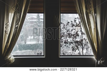 Thermal Insulation Window Save Money For Energy Bills - Snow Fall View Winter From Dark Window Curta